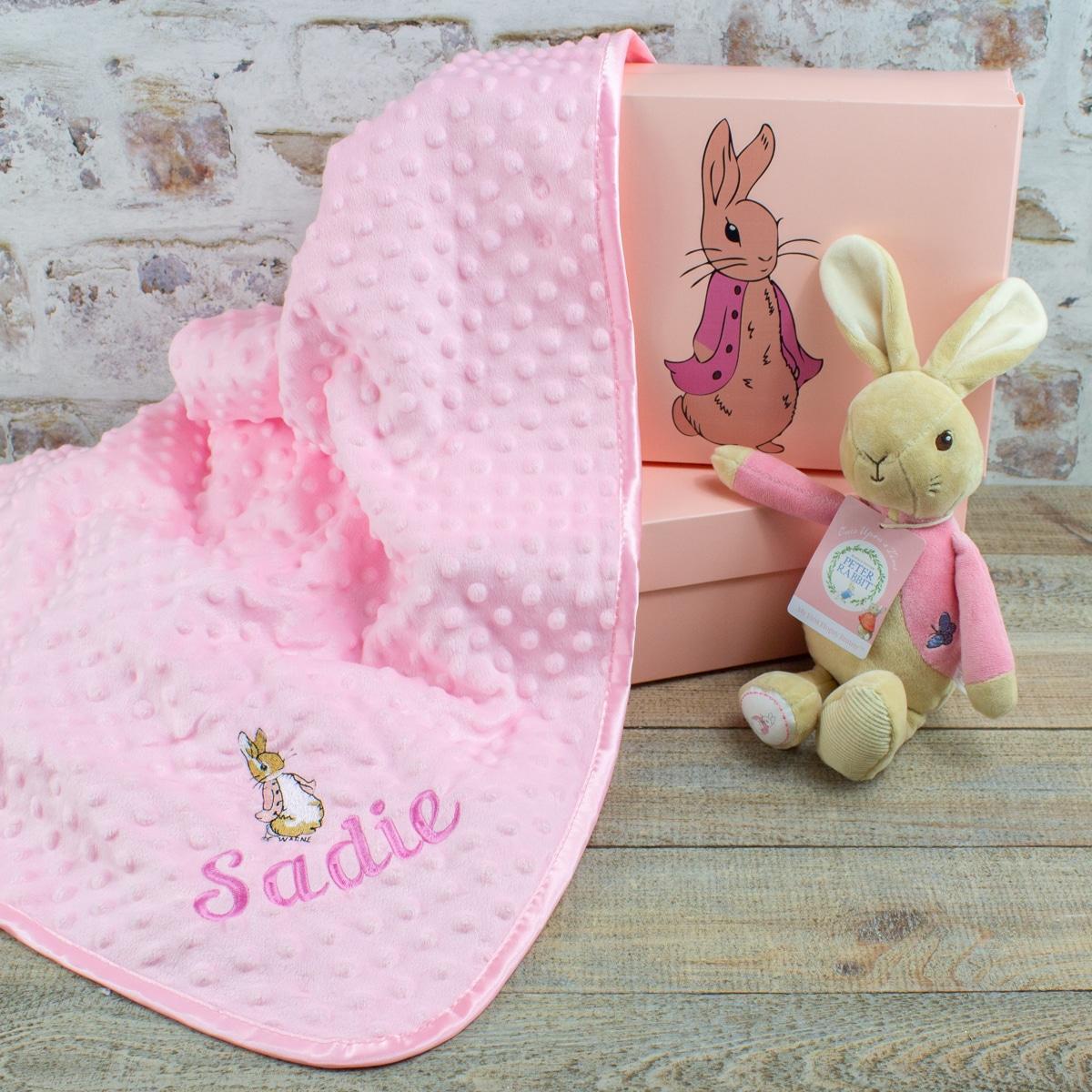 Personalised Flopsy rabbit baby gift set
