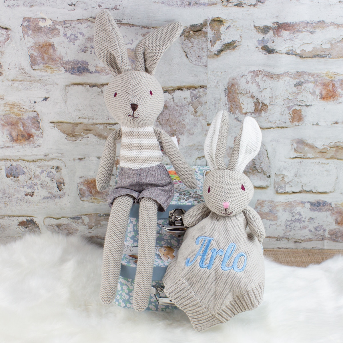 Personalised Knitted Bunny Rabbit & Soft Toy Gift Set