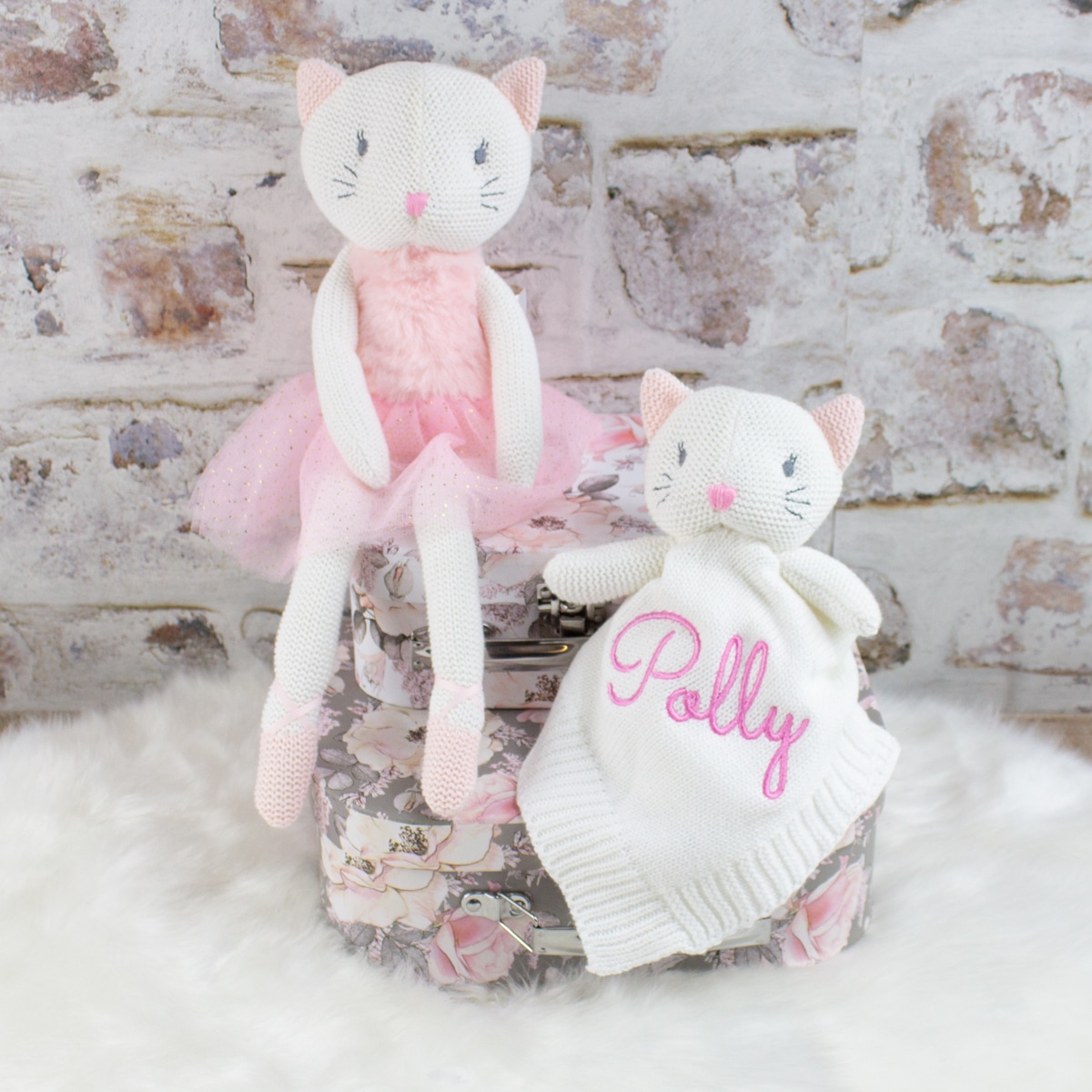 Personalised Baby Girl Knitted Kitten Gift Set