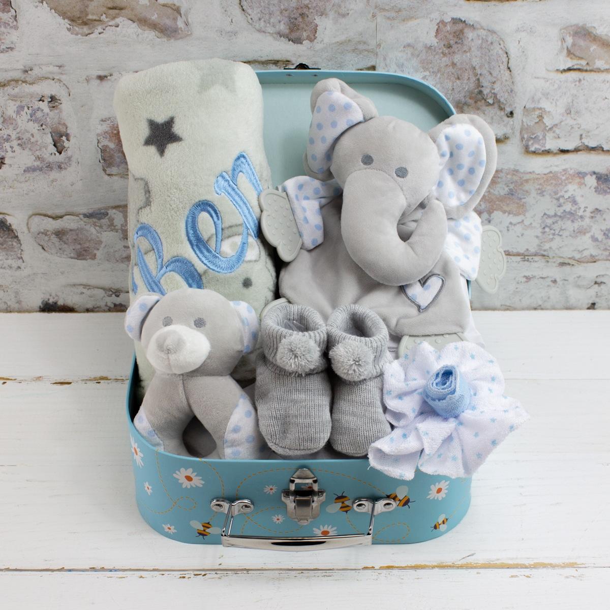 personalised 'new baby boy' Elephant Gift Set