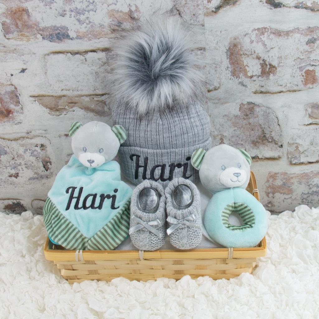 Personalised Baby Boy Teddy Bear Gift Hamper
