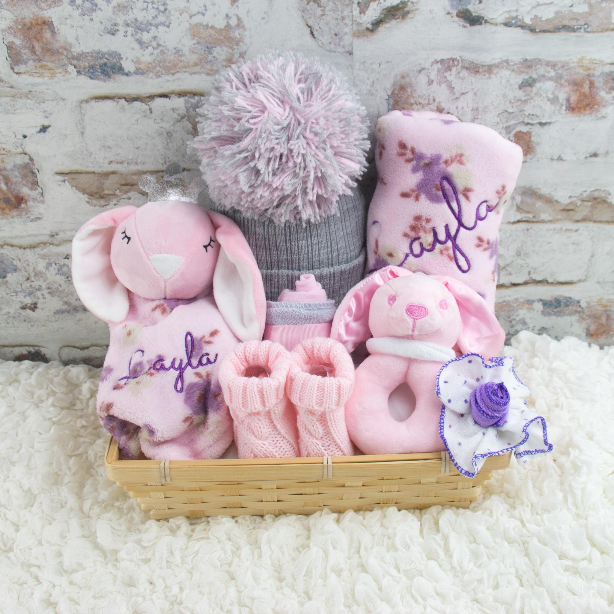 Personalised new baby girl bunny rabbit gift hamper