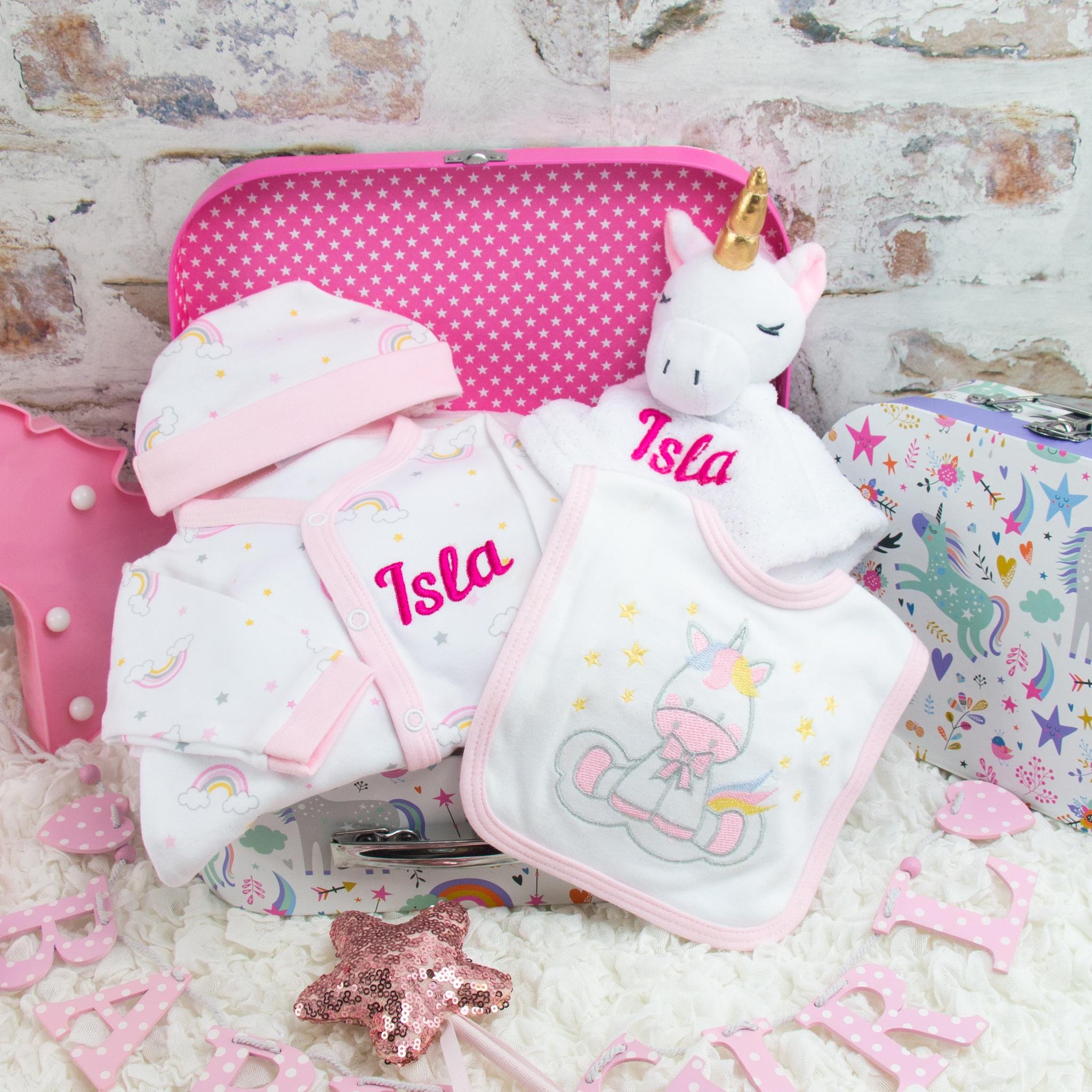 personalised baby girl unicorn gift set