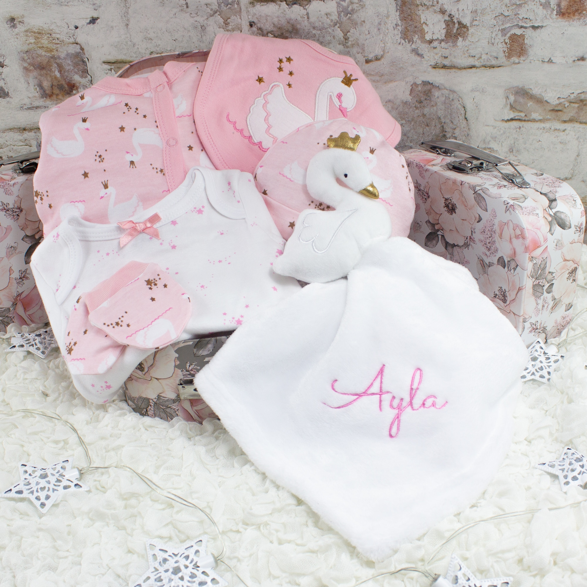 Personalised Baby Girl Clothes & Comforter Gift Set